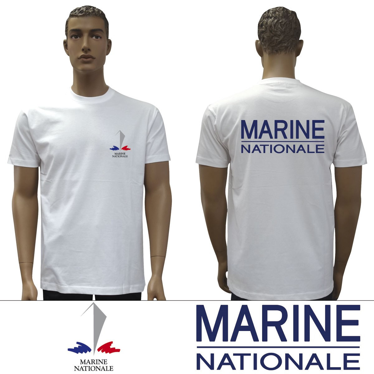 t shirt blanc marine nationale tsseribmn2 au col bleu. Black Bedroom Furniture Sets. Home Design Ideas